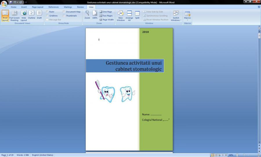 Atestat informatica Cabinet stomatologic
