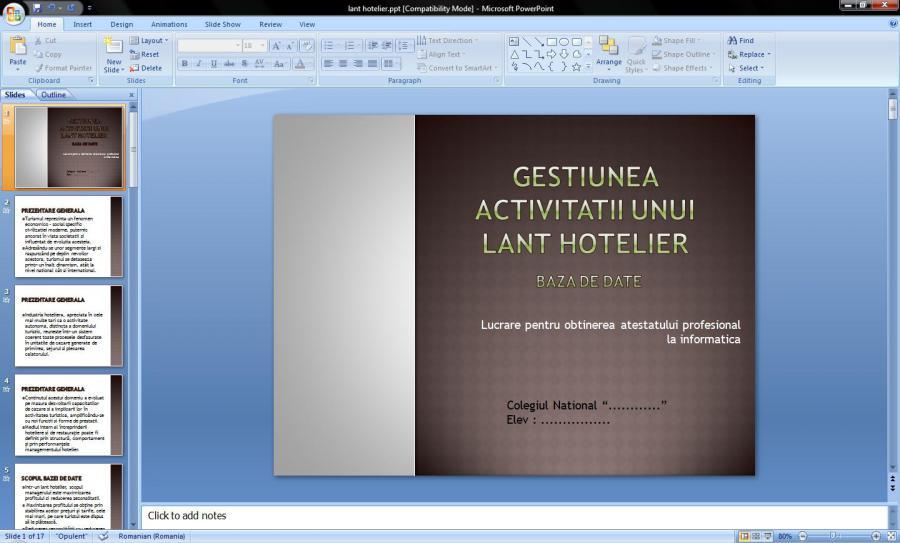 Atestat informatica Gestiunea activitatii unui lant hotelier
