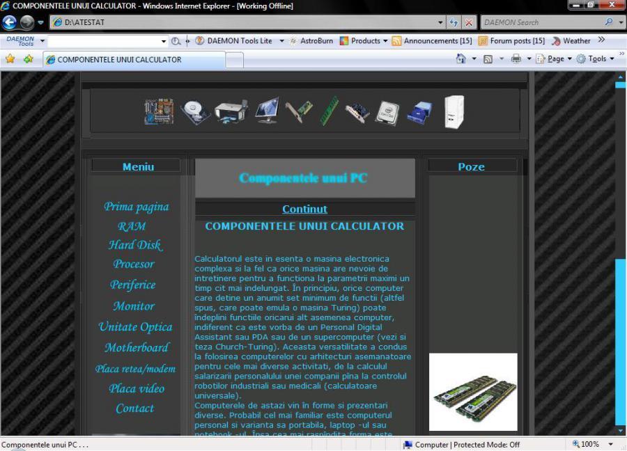 Atestat informatica Componentele unui calculator