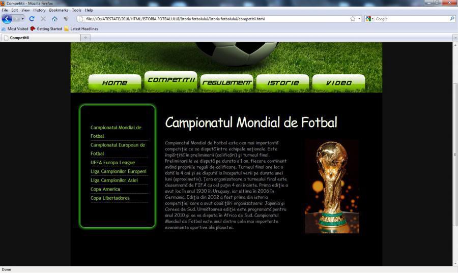 atestat informatica Fotbal