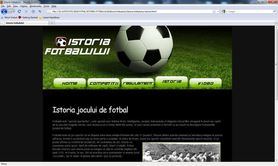 Atestat informatica Istoria fotbalului