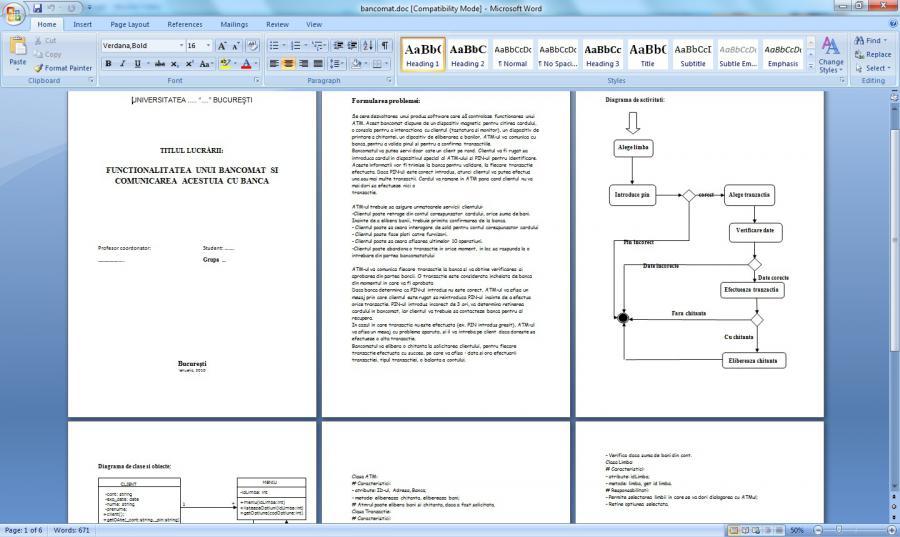 Atestat informatica Functionalitatea unui bancomat UML