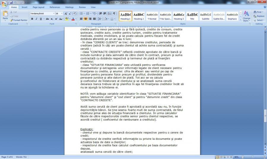 Atestat informatica Acordarea creditelor la banca UML