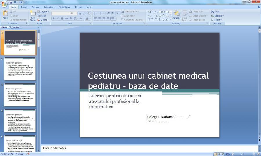 Atestat informatica Cabinet pediatrie