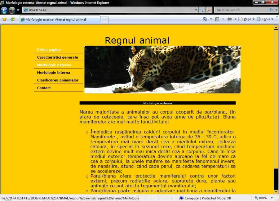 Atestat informatica Regnul animal