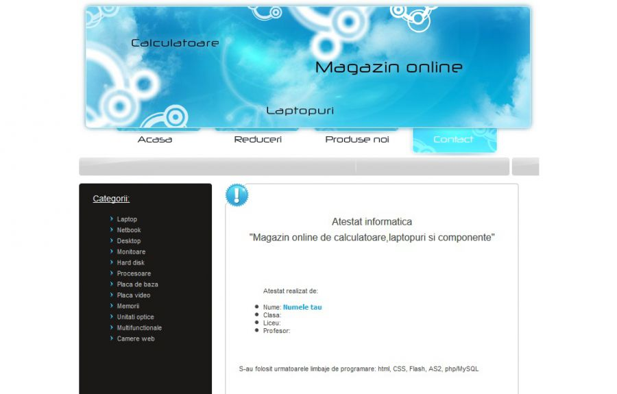 Atestat informatica Magazin de calculatoare