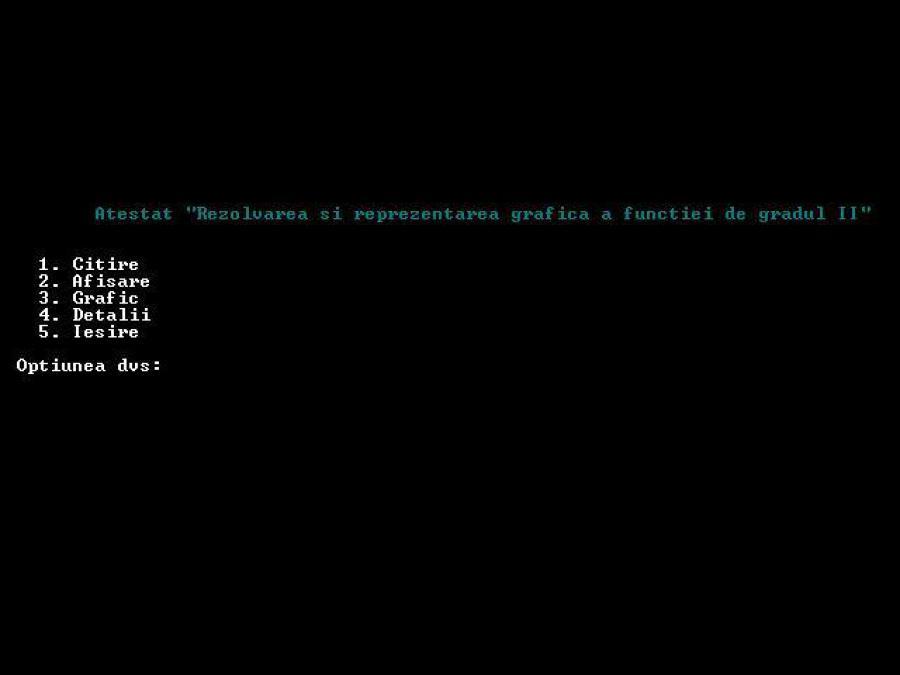 Atestat informatica Rezolvarea si reprezentarea grafica a functiei de gradul 2