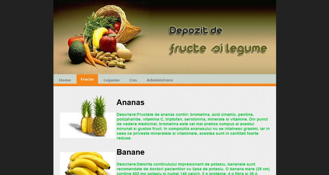 Atestat informatica Depozit de fructe si legume