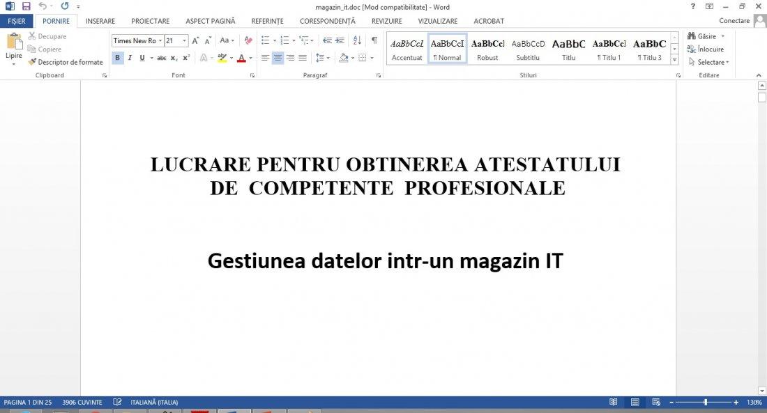Atestat informatica Magazin IT