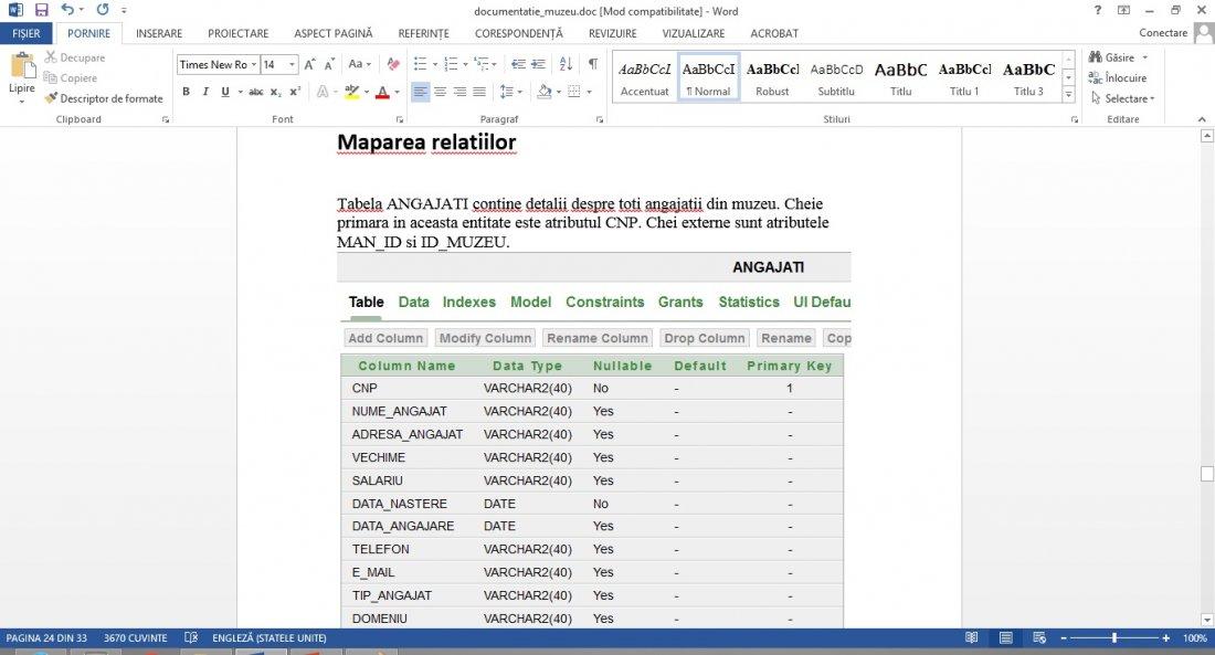 Atestat informatica Modelarea bazei de date dintr-un muzeu