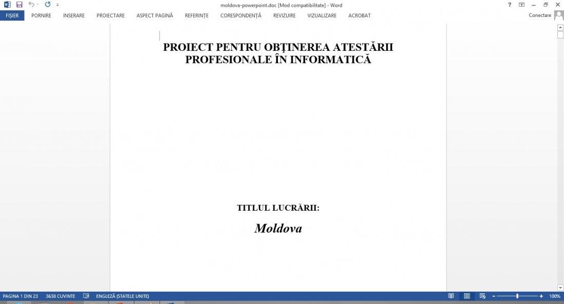 Atestat informatica Moldova