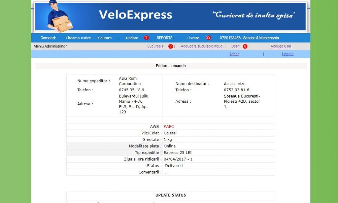 Atestat informatica VeloExpress - servicii de curierat